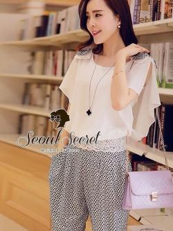 Seoul Secret ชุดเซ็ท เสื้อผ้าชีฟอง กางเกงทรง Halem