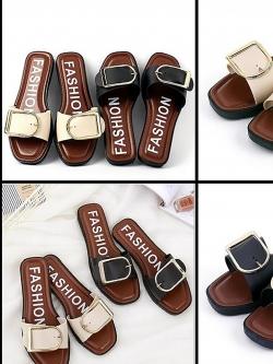 รองเท้าแตะส้นแบน Fashion Golden Belt