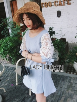 Lady Ribbon Lace-Sleeve Mini Dress with Ribbon