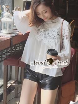 Seoul Secret Lovely Lace Chest Line Bolloon Blouse