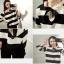 เสื้อลายขวางขาวดำ ผ้า Cotton แต่งระบายที่คอ ผูกโบว์ thumbnail 14