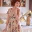 Ice Vanilla เดรสชีฟอง พิมพ์ลายผีเสื้อและดอกไม้ แต่งกระดุมทอง thumbnail 1