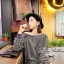 Lady Ribbon Casual Gray Stripe Long-sleeve Loose Mini Dress thumbnail 2