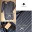 Lady Ribbon Casual Gray Stripe Long-sleeve Loose Mini Dress thumbnail 10