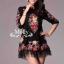 Floral Embroidery Dress เดรสลูกไม้ซีทรู ปักลายดอกไม้ ดำ/ครีมขาว thumbnail 9