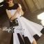 Lady Ribbon Minimal Monochrome Flared Dress thumbnail 6