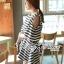 Lady Ribbon Striped Cut-Out Dress เดรสลายทางตัดแต่งช่วงไหล่ 2 สี thumbnail 6