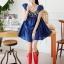Cherry KOKO เดรสผ้าฝ้ายเนื้ัอดี สีน้ำเงิน ตกแต่งไม้รูปเรขาคณิตด้านหน้า thumbnail 1