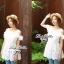Lady Ribbon เดรสผ้าลูกไม้สีขาว ช่วงอกจีบระบาย เอวยางยืด thumbnail 4