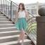 Cherry Dress เดรส ผ้าชีฟองเนื้อดี ตัดต่อสีทูโทน สีขาว-เขียว thumbnail 5