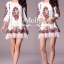 Floral Embroidery Dress เดรสลูกไม้ซีทรู ปักลายดอกไม้ ดำ/ครีมขาว thumbnail 3