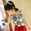 เสื้อแขนกุด ผ้าชีฟอง พิมพ์ลายใบไม้ สีดำ สวยเก๋ thumbnail 2