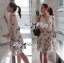 Lady Ribbon Chiffon Dress เดรสผ้าชีฟอง พิมพ์ลายขนนก thumbnail 5