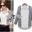 Lady Ribbon Casual Shirt เสื้อเชิ้ตแขนยาว ตัดต่อผ้าถักนิต thumbnail 6