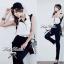 Lady Ribbon Black&White Jumpsuit คอเสื้อทรงปกเชิ้ต ตัดต่อกางเกงขายาว thumbnail 5