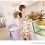 Mayuki Minidress ปาร์ตี้เดรส เกาะอก เอวยางยืด ผ้าชีฟอง ลายดอกสีแซ่บ thumbnail 3