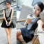 Lady Ribbon Mini Dress มินิเดรสแขนกุด สีทูโทน thumbnail 3