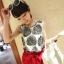 เสื้อแขนกุด ผ้าชีฟอง พิมพ์ลายใบไม้ สีดำ สวยเก๋ thumbnail 1