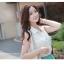 Cherry Dress เดรส ผ้าชีฟองเนื้อดี ตัดต่อสีทูโทน สีขาว-เขียว thumbnail 3
