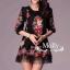 Floral Embroidery Dress เดรสลูกไม้ซีทรู ปักลายดอกไม้ ดำ/ครีมขาว thumbnail 8
