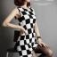 Checkerboard Dress เดรสลายตาราง ชายกระโปรงหน้าสั้นหลังยาว thumbnail 7