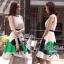 Partysu Vivid Dress เดรสเกาหลีแขนกุดสีครีม กระโปรงทรง A thumbnail 5
