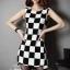 Checkerboard Dress เดรสลายตาราง ชายกระโปรงหน้าสั้นหลังยาว thumbnail 3