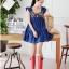 Cherry KOKO เดรสผ้าฝ้ายเนื้ัอดี สีน้ำเงิน ตกแต่งไม้รูปเรขาคณิตด้านหน้า thumbnail 6