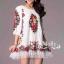 Floral Embroidery Dress เดรสลูกไม้ซีทรู ปักลายดอกไม้ ดำ/ครีมขาว thumbnail 1