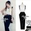 Lady Ribbon Black&White Jumpsuit คอเสื้อทรงปกเชิ้ต ตัดต่อกางเกงขายาว thumbnail 8