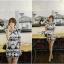 Lady Ribbon Mixed Print Mini Dress เดรสพิมพ์ลายวินเทจ สีกรมท่า thumbnail 7