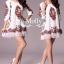 Floral Embroidery Dress เดรสลูกไม้ซีทรู ปักลายดอกไม้ ดำ/ครีมขาว thumbnail 4