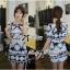 Lady Ribbon Mixed Print Mini Dress เดรสพิมพ์ลายวินเทจ สีกรมท่า thumbnail 2