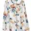 ZARA เสื้อ คอปกบัว ผ้าพิมพ์ลายดอก สีสดใส S,M,L thumbnail 4