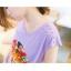 Tokyo Fashion เสื้อคอกลม สีม่วงอ่อน พิมพ์ลายสิงโต แต่งหมุดที่ไหล่ เก๋ๆ thumbnail 4