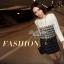 Lady Ribbon Black & White Tweet Mini Dress เก๋ เรียบหรู ไฮโซสุดๆ thumbnail 7