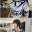 Lady Ribbon Mixed Print Mini Dress เดรสพิมพ์ลายวินเทจ สีกรมท่า thumbnail 3
