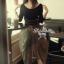 Lady Ribbon Fluffy Maxi Dress แม็กซี่ผ้ายืด กระโปรงผ้าซีทรู thumbnail 2