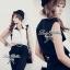 Lady Ribbon Black&White Jumpsuit คอเสื้อทรงปกเชิ้ต ตัดต่อกางเกงขายาว thumbnail 6