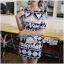 Lady Ribbon Mixed Print Mini Dress เดรสพิมพ์ลายวินเทจ สีกรมท่า thumbnail 5