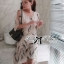 Lady Ribbon Chiffon Dress เดรสผ้าชีฟอง พิมพ์ลายขนนก thumbnail 3