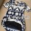Lady Ribbon Mixed Print Mini Dress เดรสพิมพ์ลายวินเทจ สีกรมท่า thumbnail 9