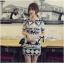 Lady Ribbon Mixed Print Mini Dress เดรสพิมพ์ลายวินเทจ สีกรมท่า thumbnail 4