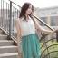 Cherry Dress เดรส ผ้าชีฟองเนื้อดี ตัดต่อสีทูโทน สีขาว-เขียว thumbnail 6