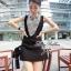 Lady Ribbon Mini Dress มินิเดรสแขนกุด สีทูโทน thumbnail 4