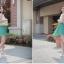 Cherry Dress เดรส ผ้าชีฟองเนื้อดี ตัดต่อสีทูโทน สีขาว-เขียว thumbnail 7