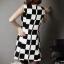 Checkerboard Dress เดรสลายตาราง ชายกระโปรงหน้าสั้นหลังยาว thumbnail 8