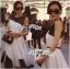 Lady Ribbon Minimal Monochrome Flared Dress thumbnail 2