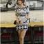 Lady Ribbon Mixed Print Mini Dress เดรสพิมพ์ลายวินเทจ สีกรมท่า thumbnail 6