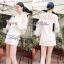 Lady Ribbon Mini Dress เดรสแขนยาว ซีทรูดีเทลอกฉลุรังผึ้ง thumbnail 2